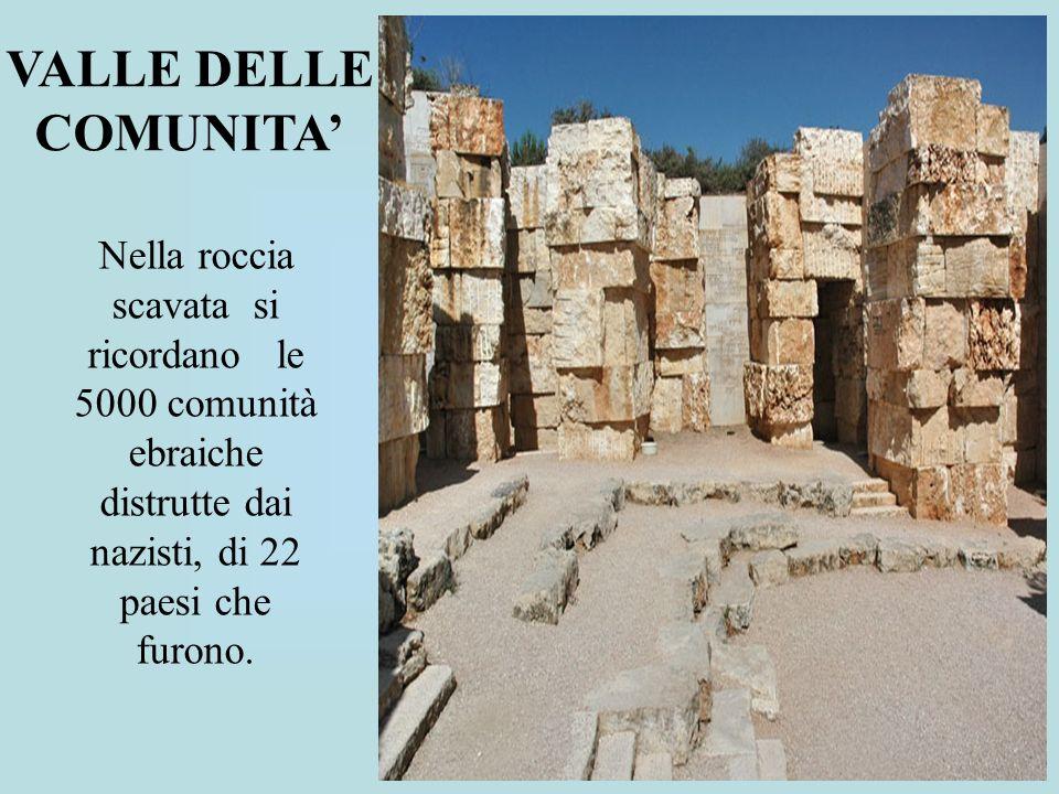 Nella roccia scavata si ricordano le 5000 comunità ebraiche distrutte dai nazisti, di 22 paesi che furono. VALLE DELLE COMUNITA