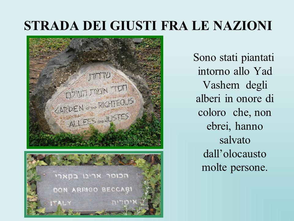 STRADA DEI GIUSTI FRA LE NAZIONI Sono stati piantati intorno allo Yad Vashem degli alberi in onore di coloro che, non ebrei, hanno salvato dallolocaus