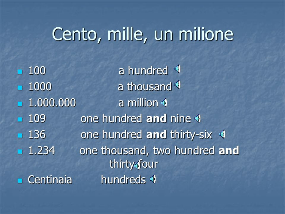 Gli altri numeri sotto il cento 21 twenty-one 21 twenty-one.. ……….... ……….. 30 thirty 30 thirty 31 thirty-one 31 thirty-one.. ….... ….. 40 forty 40 fo