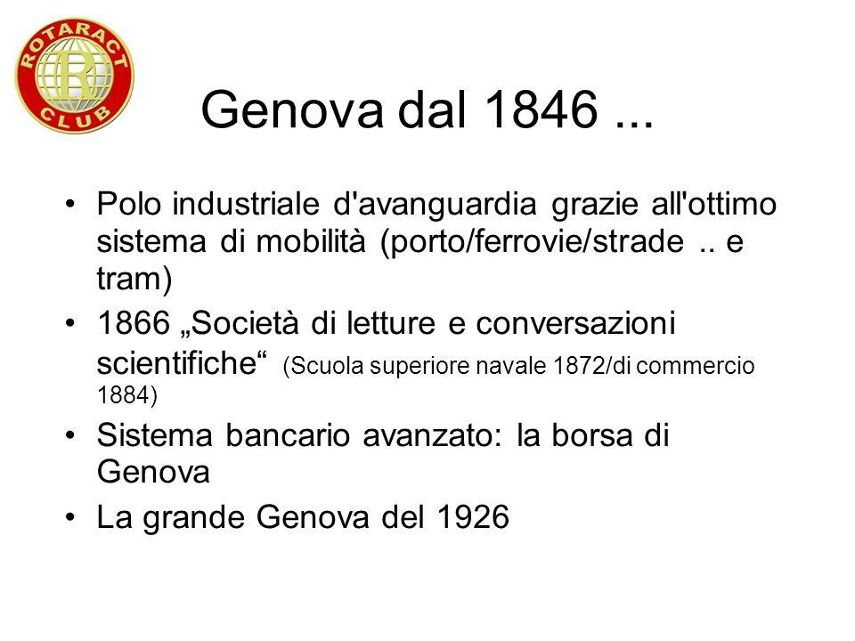 Genova dal 1846... Polo industriale d'avanguardia grazie all'ottimo sistema di mobilità (porto/ferrovie/strade.. e tram) 1866 Società di letture e con