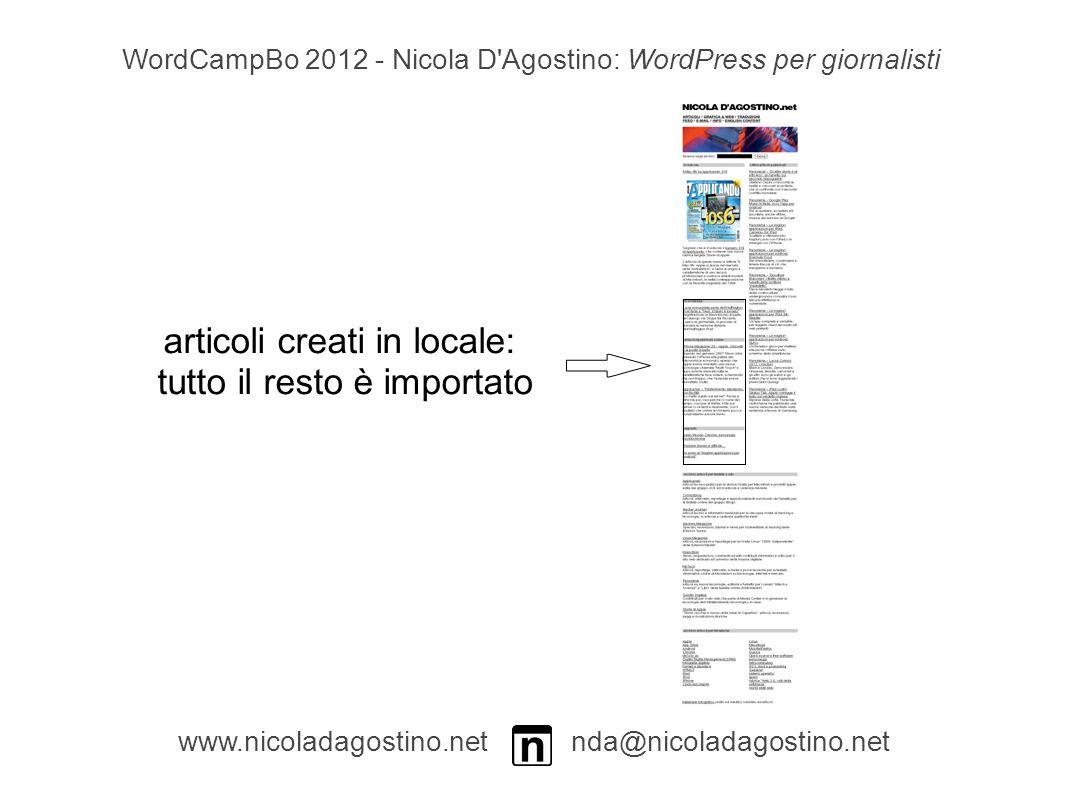 www.nicoladagostino.net nda@nicoladagostino.net WordCampBo 2012 - Nicola D Agostino: WordPress per giornalisti articoli creati in locale: tutto il resto è importato