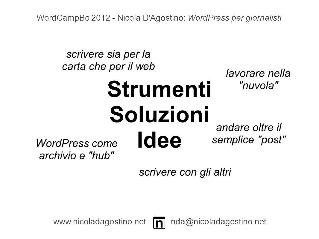 Strumenti Soluzioni Idee www.nicoladagostino.net nda@nicoladagostino.net WordCampBo 2012 - Nicola D Agostino: WordPress per giornalisti