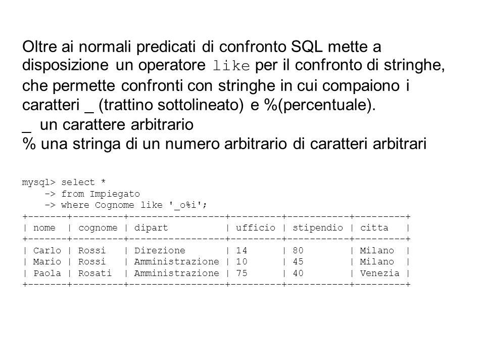 Oltre ai normali predicati di confronto SQL mette a disposizione un operatore like per il confronto di stringhe, che permette confronti con stringhe i