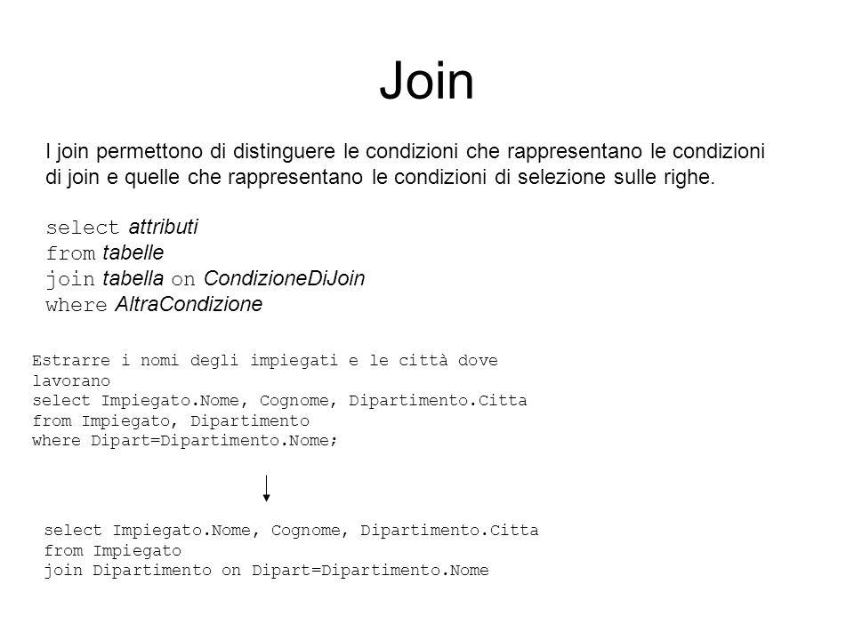 Join I join permettono di distinguere le condizioni che rappresentano le condizioni di join e quelle che rappresentano le condizioni di selezione sull