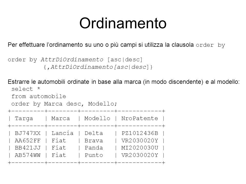 Ordinamento Per effettuare lordinamento su uno o più campi si utilizza la clausola order by order by AttrDiOrdinamento [asc|desc] {,AttrDiOrdinamento[