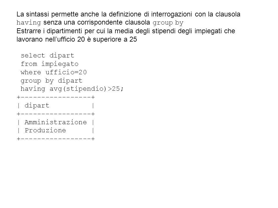 La sintassi permette anche la definizione di interrogazioni con la clausola having senza una corrispondente clausola group by Estrarre i dipartimenti