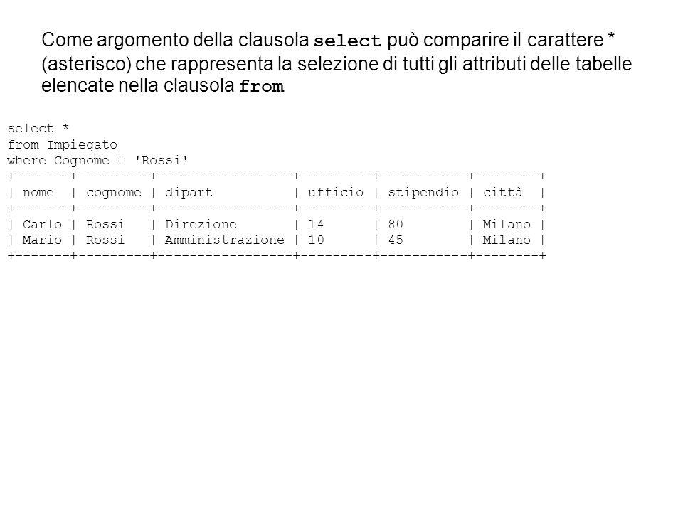 Come argomento della clausola select può comparire il carattere * (asterisco) che rappresenta la selezione di tutti gli attributi delle tabelle elenca