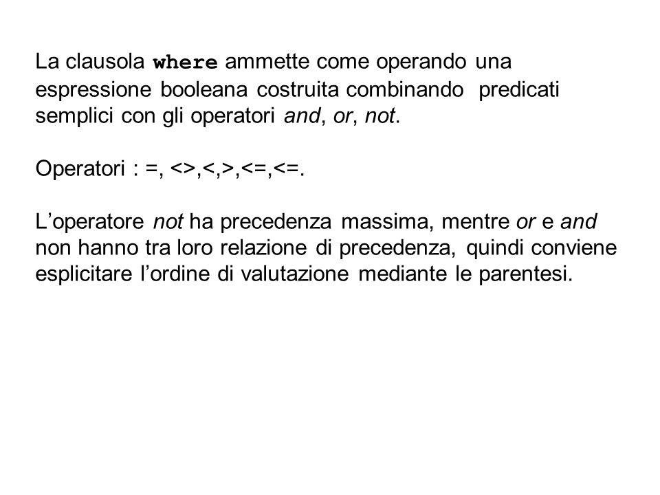 La clausola where ammette come operando una espressione booleana costruita combinando predicati semplici con gli operatori and, or, not. Operatori : =