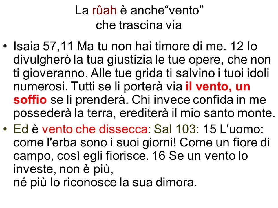 La rûah è anchevento che trascina via Isaia 57,11 Ma tu non hai timore di me. 12 Io divulgherò la tua giustizia le tue opere, che non ti gioveranno. A