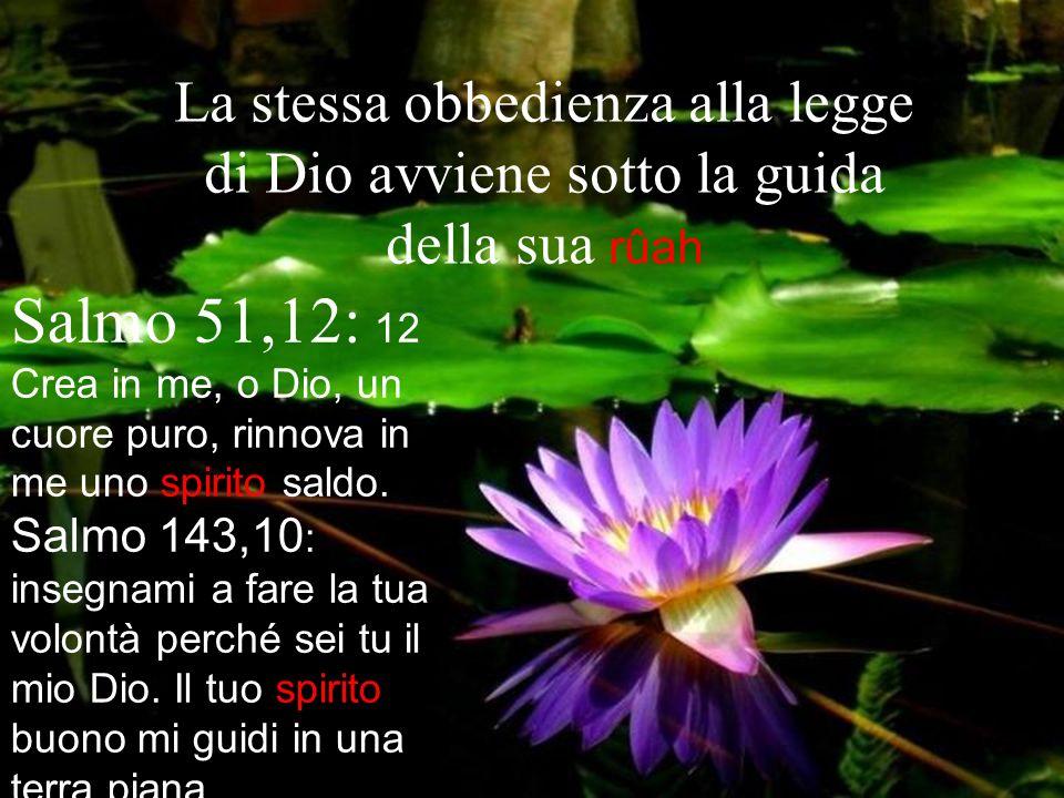 La stessa obbedienza alla legge di Dio avviene sotto la guida della sua rûah Salmo 51,12: 12 Crea in me, o Dio, un cuore puro, rinnova in me uno spiri