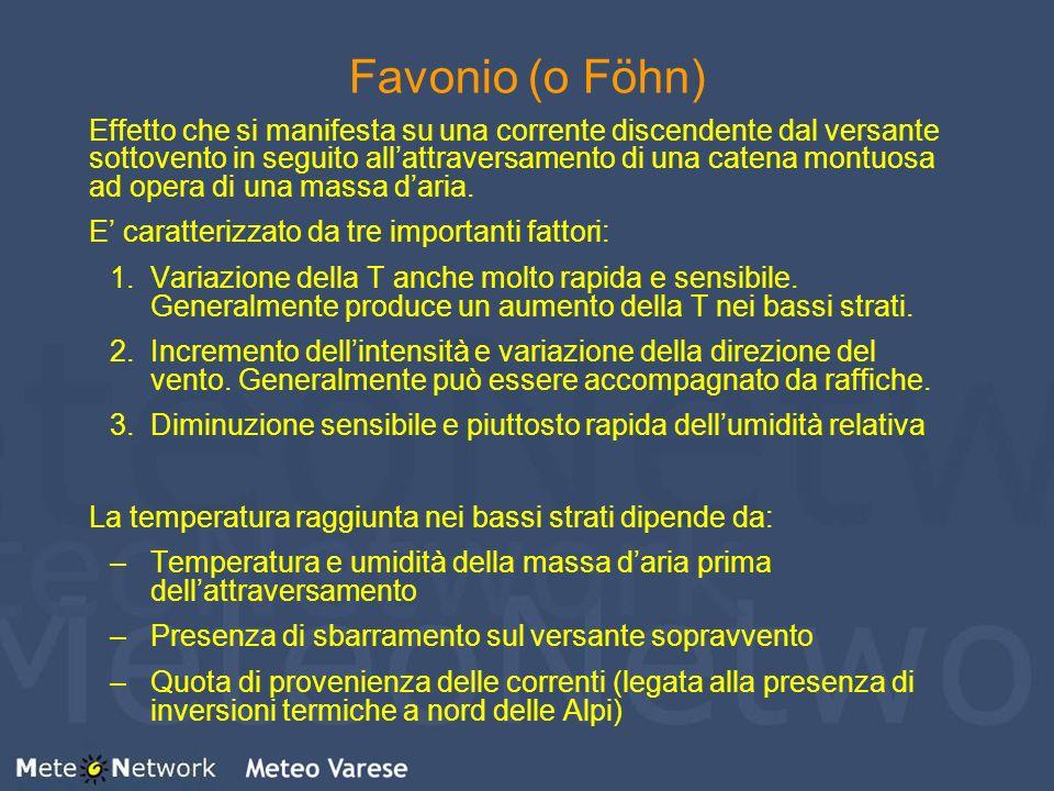 Favonio (o Föhn) Effetto che si manifesta su una corrente discendente dal versante sottovento in seguito allattraversamento di una catena montuosa ad