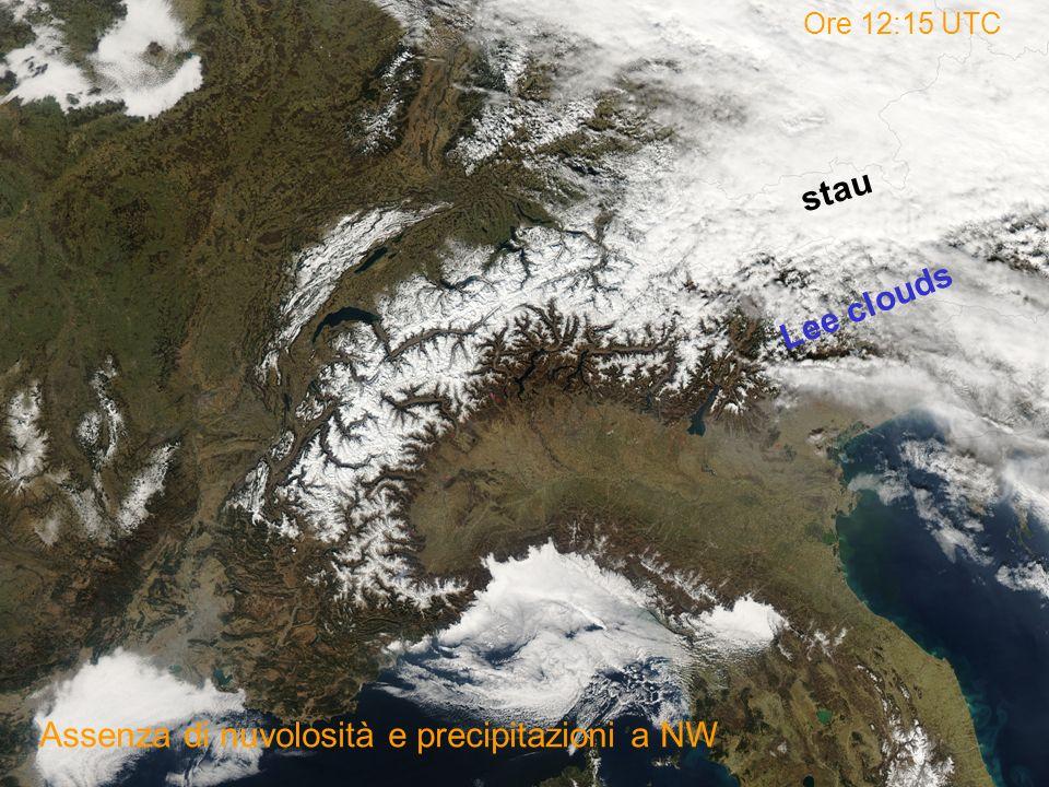 Ore 12:15 UTC Assenza di nuvolosità e precipitazioni a NW stau Lee clouds