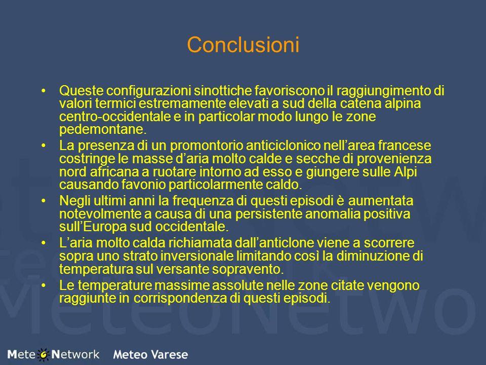Conclusioni Queste configurazioni sinottiche favoriscono il raggiungimento di valori termici estremamente elevati a sud della catena alpina centro-occ