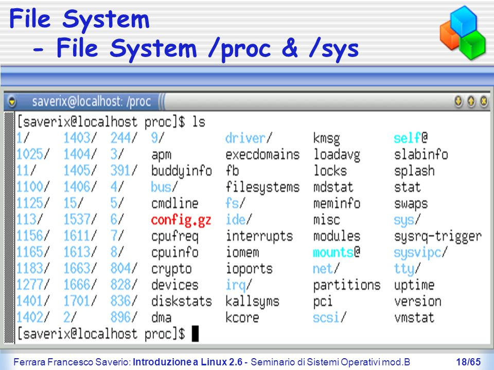 Ferrara Francesco Saverio: Introduzione a Linux 2.6 - Seminario di Sistemi Operativi mod.B18/65 File System - File System /proc & /sys