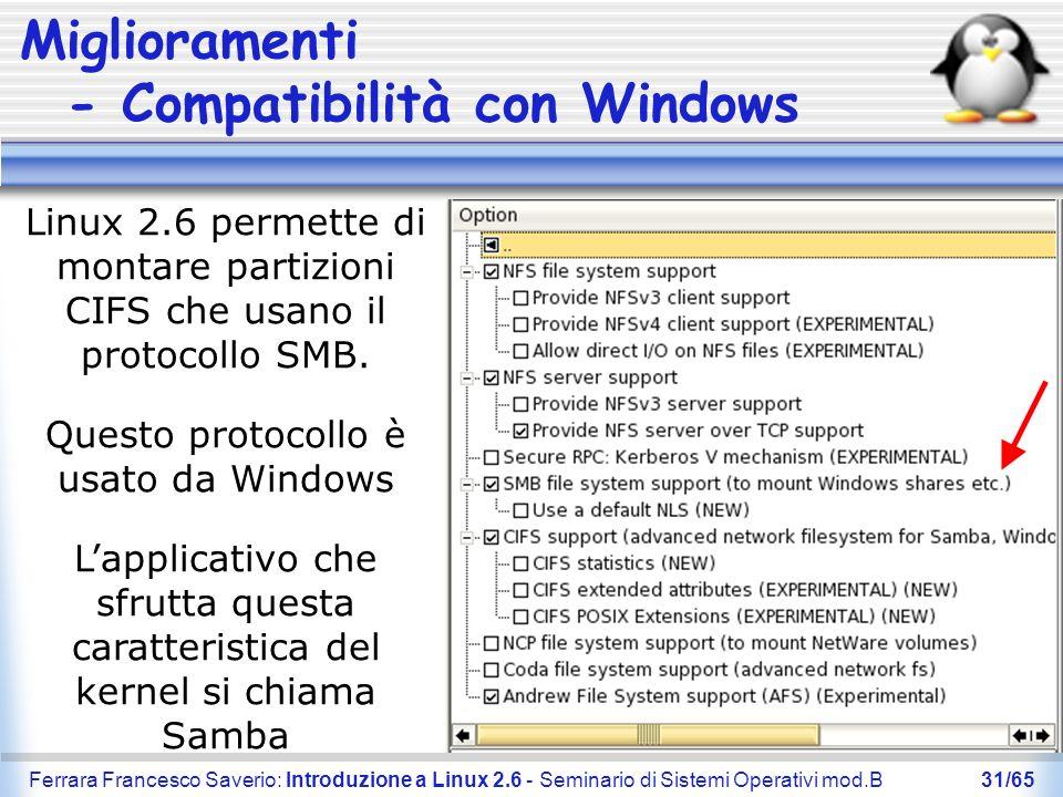 Ferrara Francesco Saverio: Introduzione a Linux 2.6 - Seminario di Sistemi Operativi mod.B31/65 Miglioramenti - Compatibilità con Windows Linux 2.6 pe