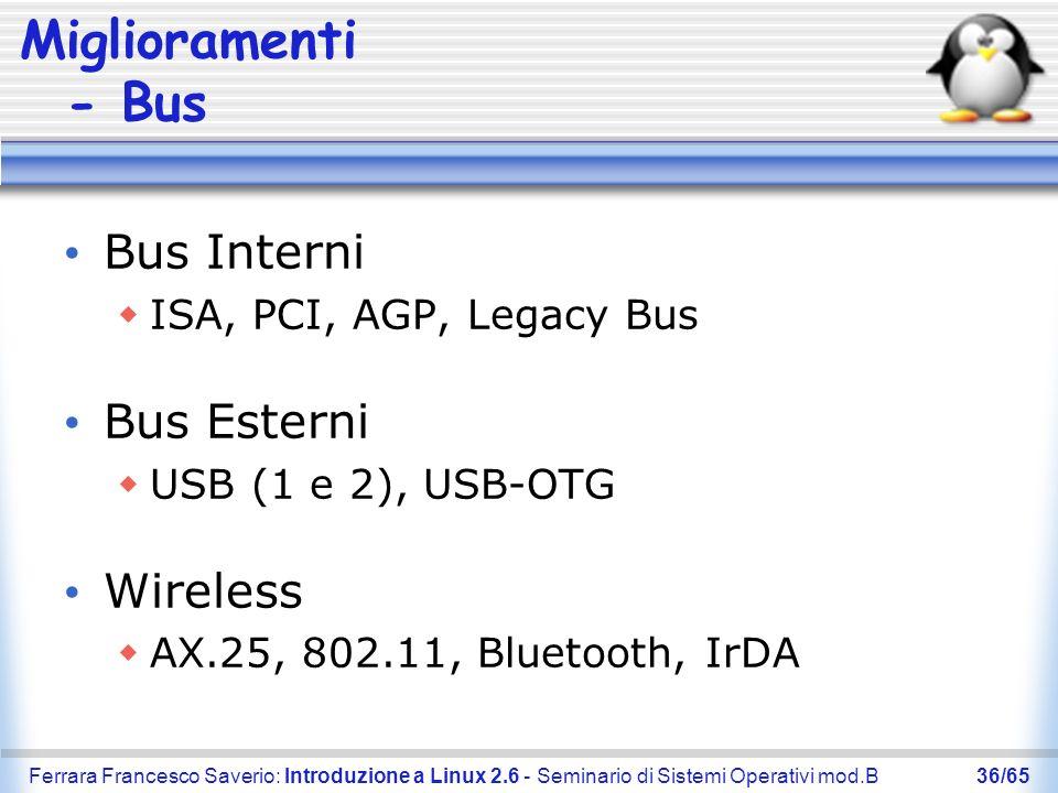 Ferrara Francesco Saverio: Introduzione a Linux 2.6 - Seminario di Sistemi Operativi mod.B36/65 Miglioramenti - Bus Bus Interni ISA, PCI, AGP, Legacy