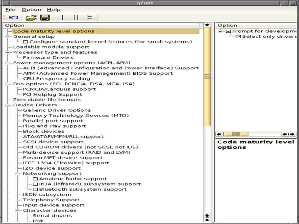 Ferrara Francesco Saverio: Introduzione a Linux 2.6 - Seminario di Sistemi Operativi mod.B53/65 Passare al Kernel 2.6 - Compilazione: Configurazione