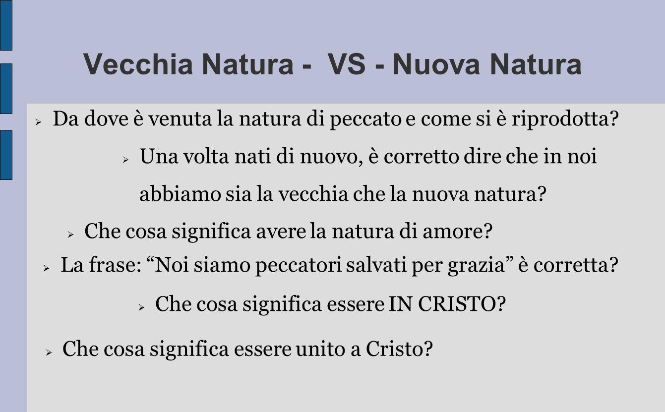 Vecchia Natura - VS - Nuova Natura Che cosa significa avere la natura di amore? La frase: Noi siamo peccatori salvati per grazia è corretta? Una volta