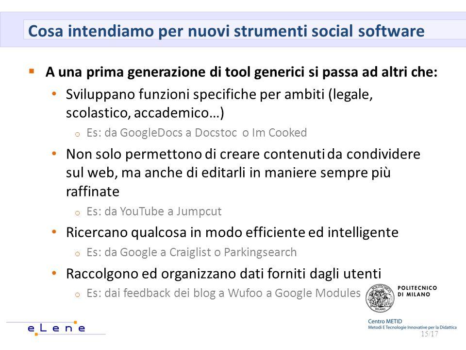 Cosa intendiamo per nuovi strumenti social software A una prima generazione di tool generici si passa ad altri che: Sviluppano funzioni specifiche per