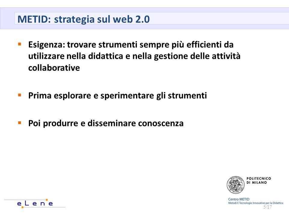 METID: strategia sul web 2.0 Esigenza: trovare strumenti sempre più efficienti da utilizzare nella didattica e nella gestione delle attività collabora