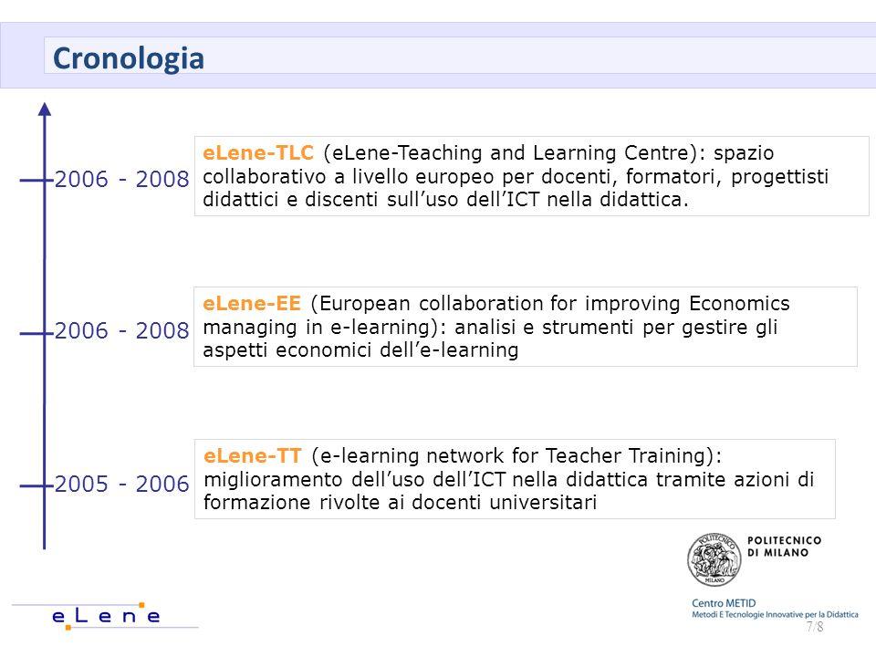 7/8 2005 - 2006 2006 - 2008 eLene-TT (e-learning network for Teacher Training): miglioramento delluso dellICT nella didattica tramite azioni di formaz
