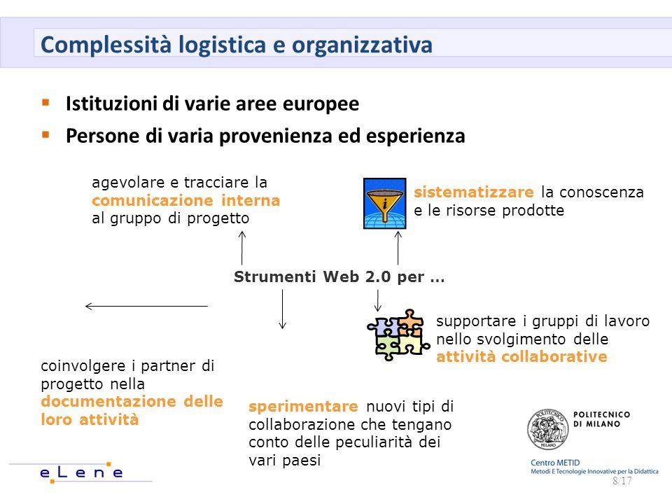 Complessità logistica e organizzativa Istituzioni di varie aree europee Persone di varia provenienza ed esperienza 8/17 Strumenti Web 2.0 per … agevol