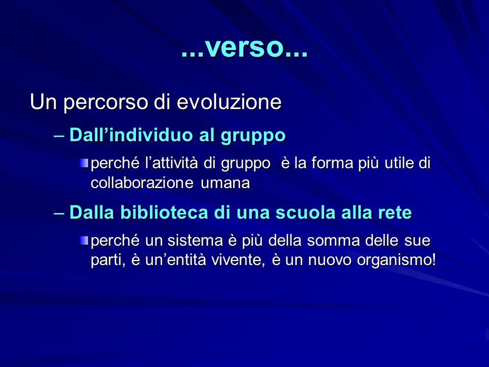 ...verso... Un percorso di evoluzione –D–D–D–Dallindividuo al gruppo perché lattività di gruppo è la forma più utile di collaborazione umana –D–D–D–Da