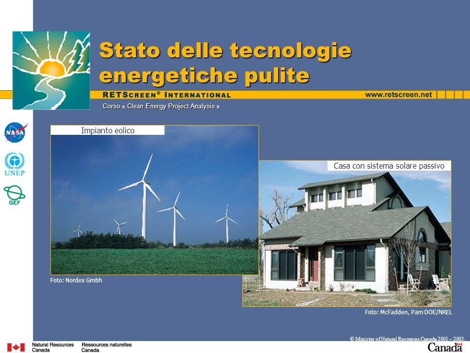 Corso « Clean Energy Project Analysis » Stato delle tecnologie energetiche pulite © Minister of Natural Resources Canada 2001 – 2005. Casa con sistema