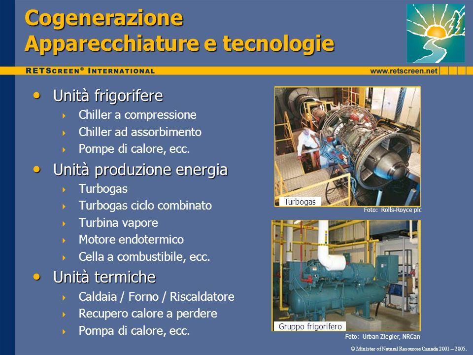 Cogenerazione Apparecchiature e tecnologie © Minister of Natural Resources Canada 2001 – 2005. Unità frigorifere Unità frigorifere Chiller a compressi