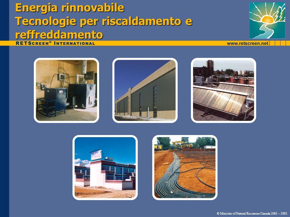 Energia rinnovabile Tecnologie per riscaldamento e reffreddamento © Minister of Natural Resources Canada 2001 – 2005.