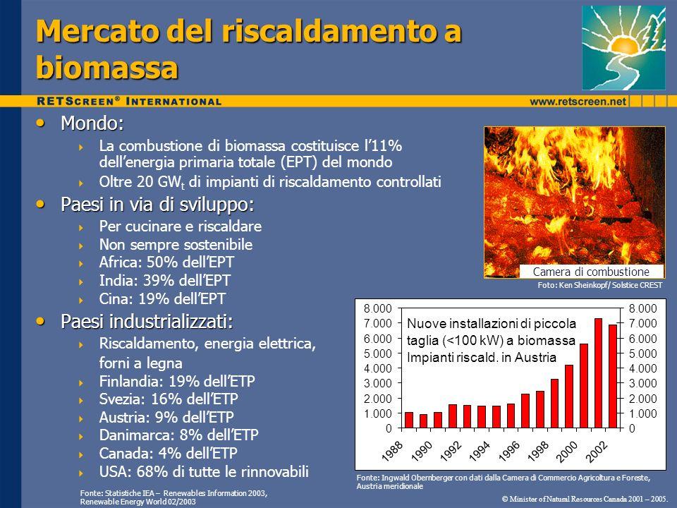 Mondo: Mondo: La combustione di biomassa costituisce l11% dellenergia primaria totale (EPT) del mondo Oltre 20 GW t di impianti di riscaldamento contr