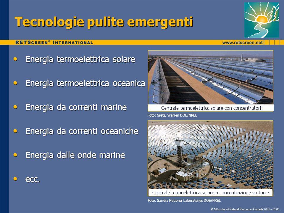 Tecnologie pulite emergenti Energia termoelettrica solare Energia termoelettrica solare Energia termoelettrica oceanica Energia termoelettrica oceanic