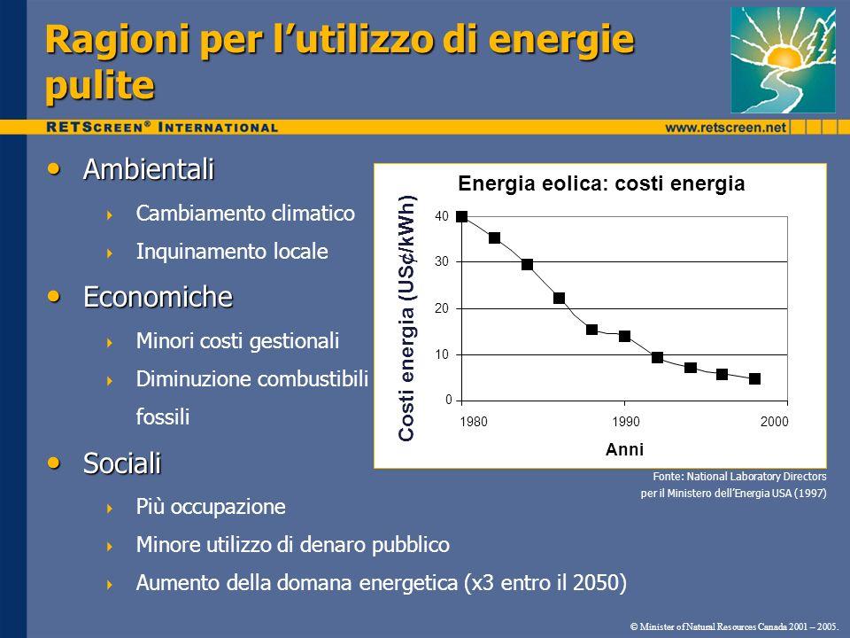 Ragioni per lutilizzo di energie pulite Ambientali Ambientali Cambiamento climatico Inquinamento locale Economiche Economiche Minori costi gestionali