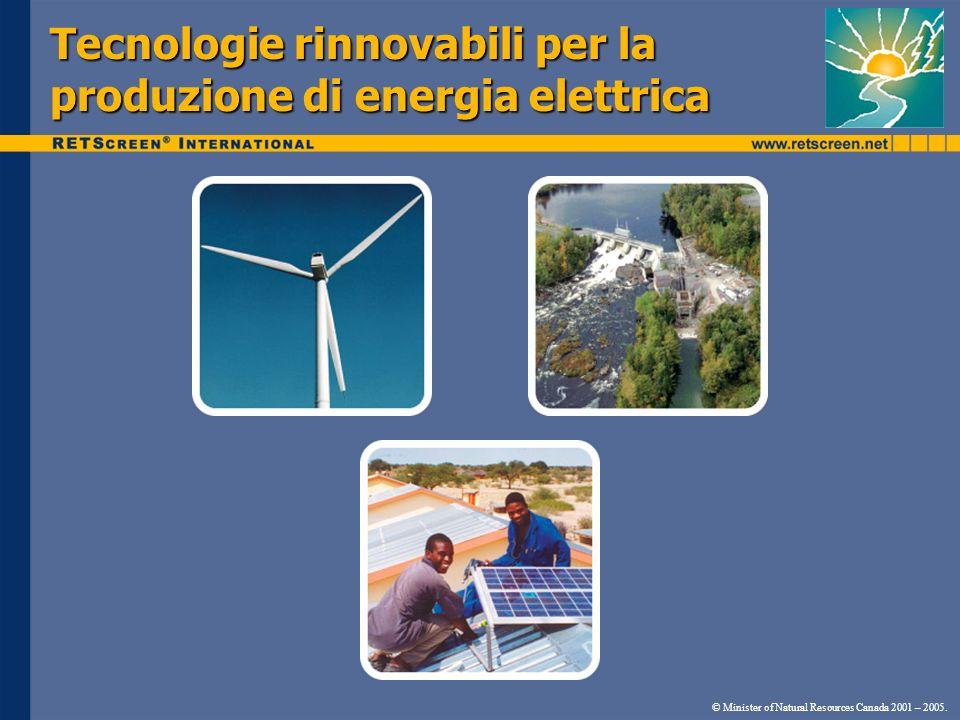 Tecnologie rinnovabili per la produzione di energia elettrica © Minister of Natural Resources Canada 2001 – 2005.