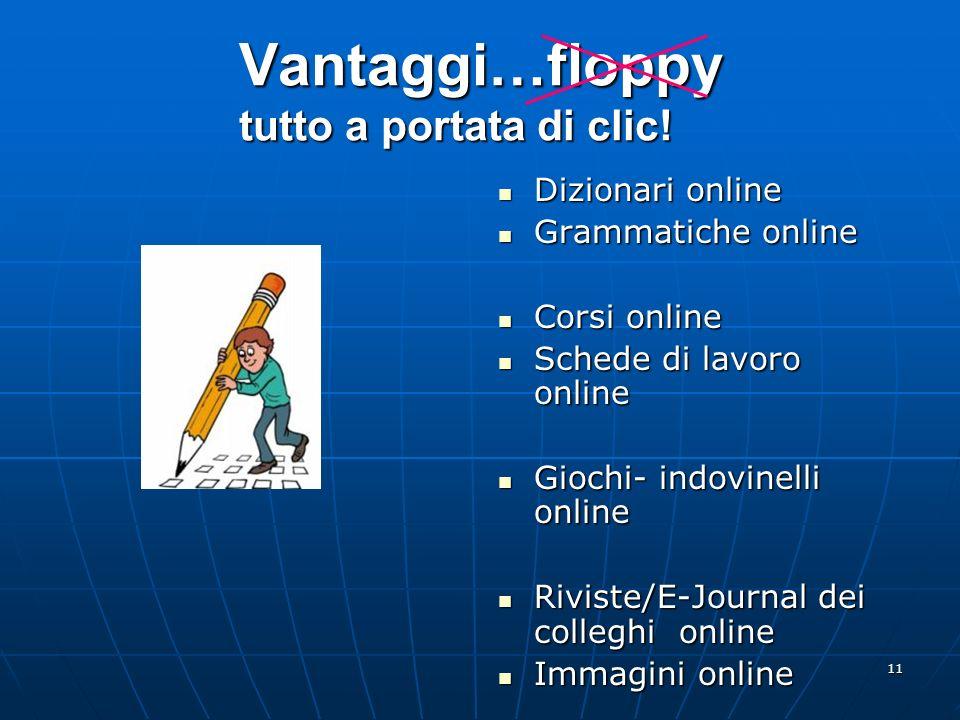11 Vantaggi…floppy tutto a portata di clic! Dizionari online Dizionari online Grammatiche online Grammatiche online Corsi online Corsi online Schede d