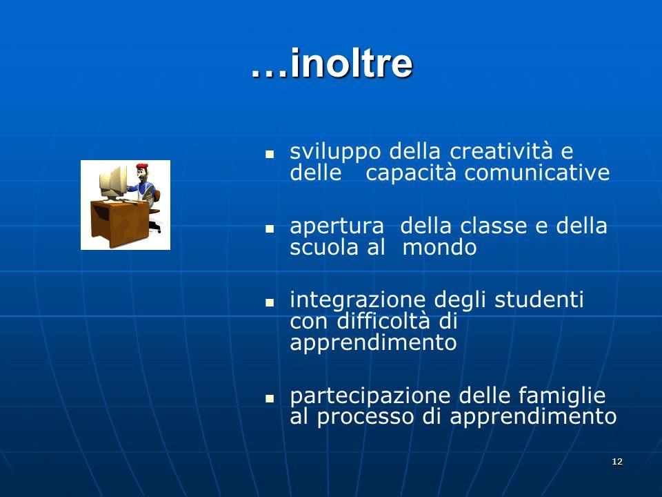 12 …inoltre sviluppo della creatività e delle capacità comunicative apertura della classe e della scuola al mondo integrazione degli studenti con diff