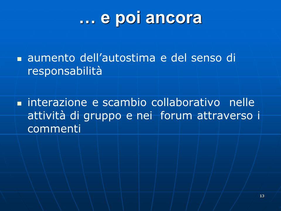 13 … e poi ancora aumento dellautostima e del senso di responsabilità interazione e scambio collaborativo nelle attività di gruppo e nei forum attrave