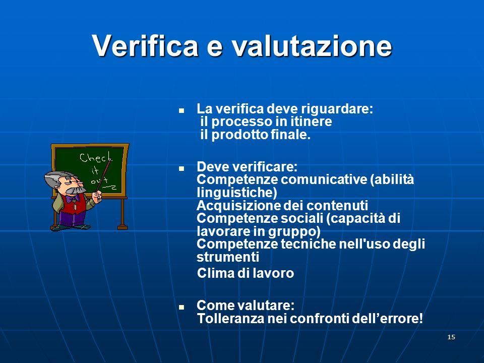 15 Verifica e valutazione La verifica deve riguardare: il processo in itinere il prodotto finale. Deve verificare: Competenze comunicative (abilità li
