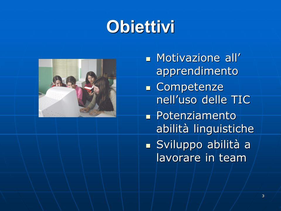 3 Obiettivi Motivazione all apprendimento Motivazione all apprendimento Competenze nelluso delle TIC Competenze nelluso delle TIC Potenziamento abilit