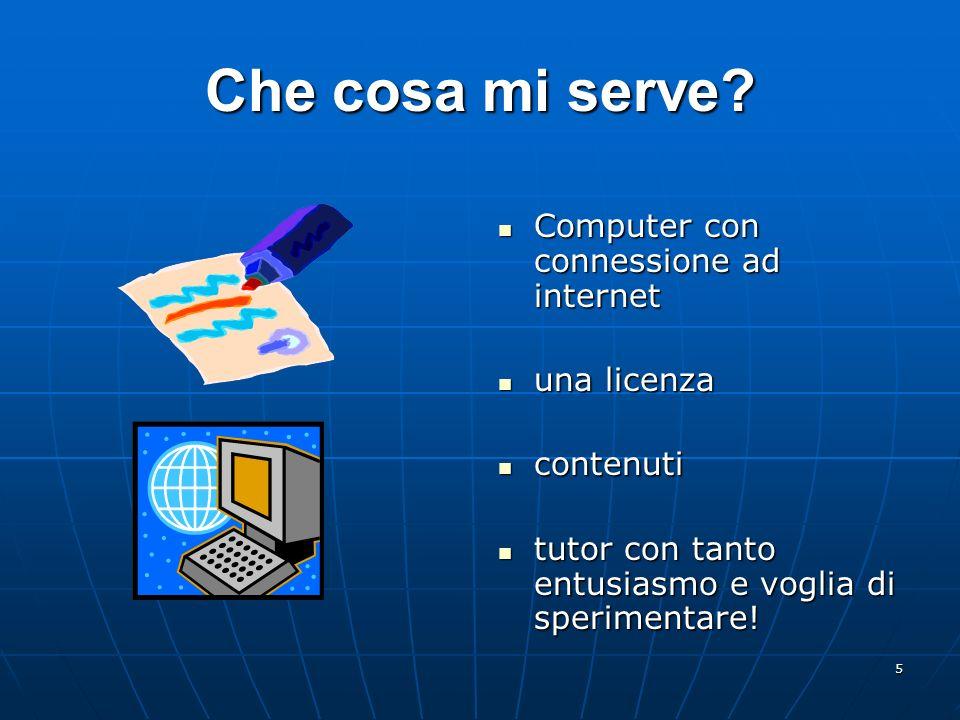 5 Che cosa mi serve? Computer con connessione ad internet Computer con connessione ad internet una licenza una licenza contenuti contenuti tutor con t