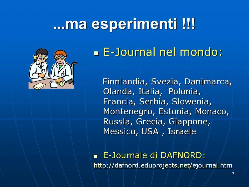 7...ma esperimenti !!! E-Journal nel mondo: E-Journal nel mondo: Finnlandia, Svezia, Danimarca, Olanda, Italia, Polonia, Francia, Serbia, Slowenia, Mo