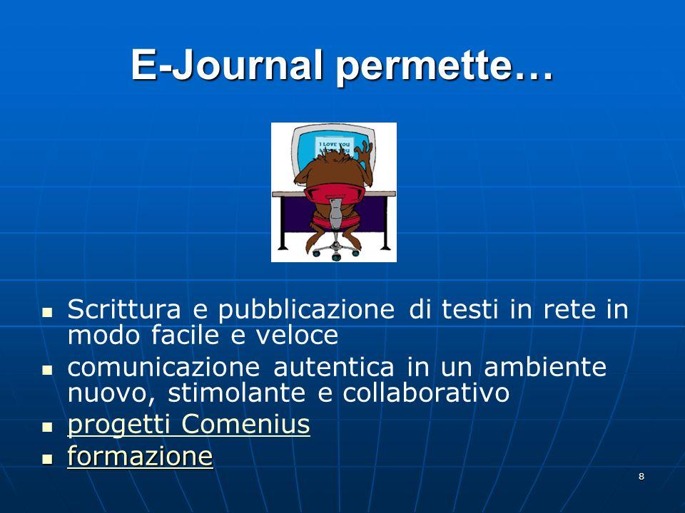 8 E-Journal permette… Scrittura e pubblicazione di testi in rete in modo facile e veloce comunicazione autentica in un ambiente nuovo, stimolante e co