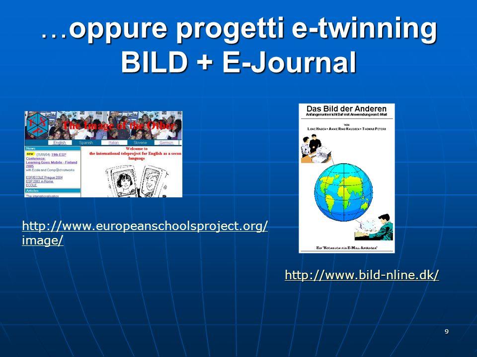 9 …oppure progetti e-twinning BILD + E-Journal http://www.bild-nline.dk/ http://www.europeanschoolsproject.org/ image/
