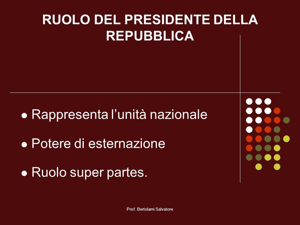 Prof. Bertolami Salvatore RUOLO DEL PRESIDENTE DELLA REPUBBLICA Rappresenta lunità nazionale Potere di esternazione Ruolo super partes.
