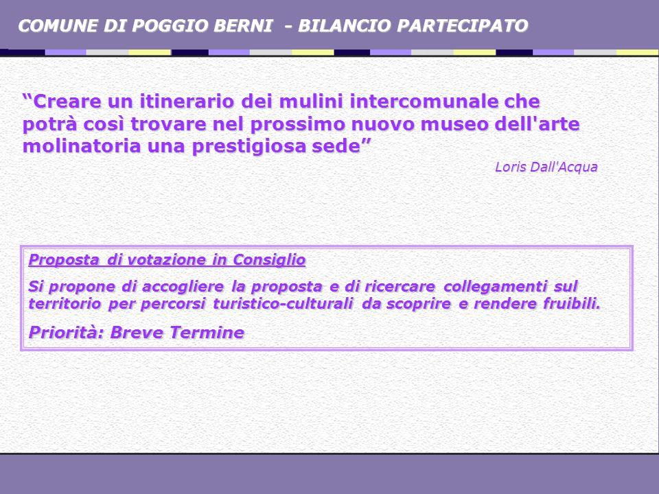 COMUNE DI POGGIO BERNI - BILANCIO PARTECIPATO Creare un itinerario dei mulini intercomunale che potrà così trovare nel prossimo nuovo museo dell'arte