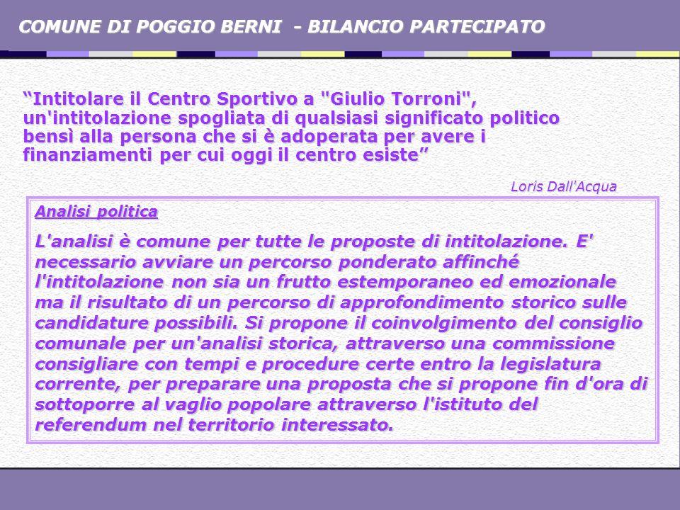 COMUNE DI POGGIO BERNI - BILANCIO PARTECIPATO Intitolare il Centro Sportivo a