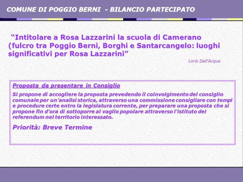 COMUNE DI POGGIO BERNI - BILANCIO PARTECIPATO Intitolare a Rosa Lazzarini la scuola di Camerano (fulcro tra Poggio Berni, Borghi e Santarcangelo: luog