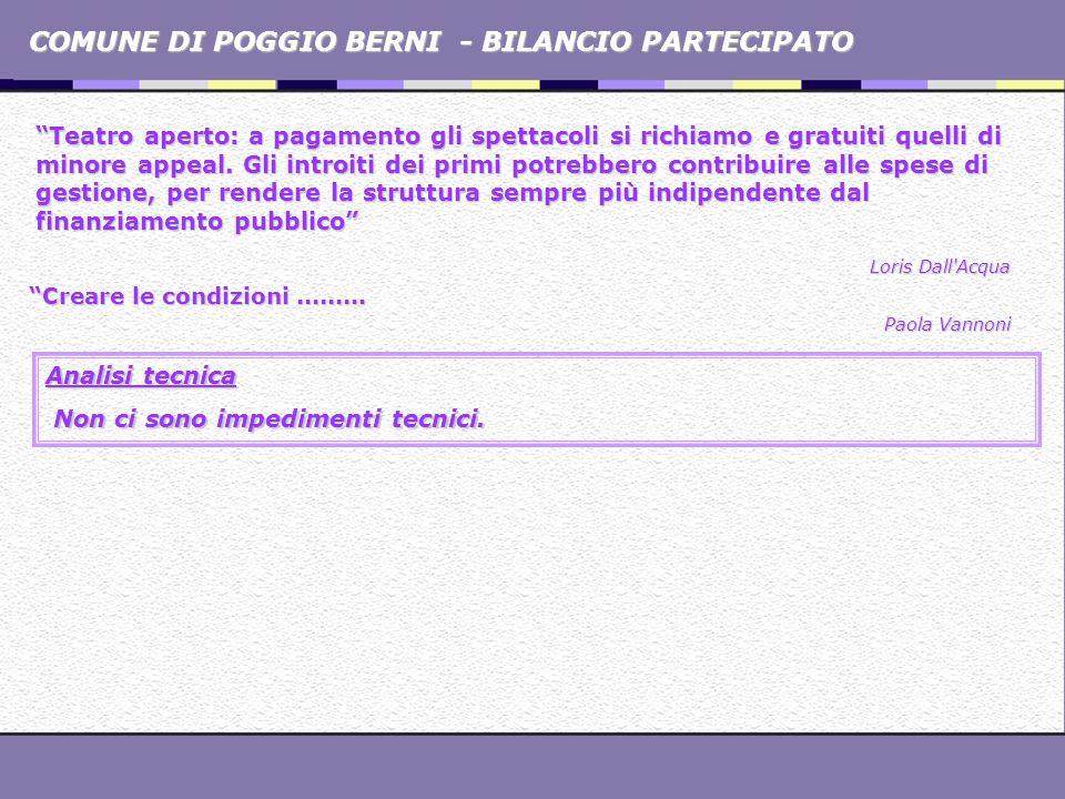 COMUNE DI POGGIO BERNI - BILANCIO PARTECIPATO Teatro aperto: a pagamento gli spettacoli si richiamo e gratuiti quelli di minore appeal. Gli introiti d