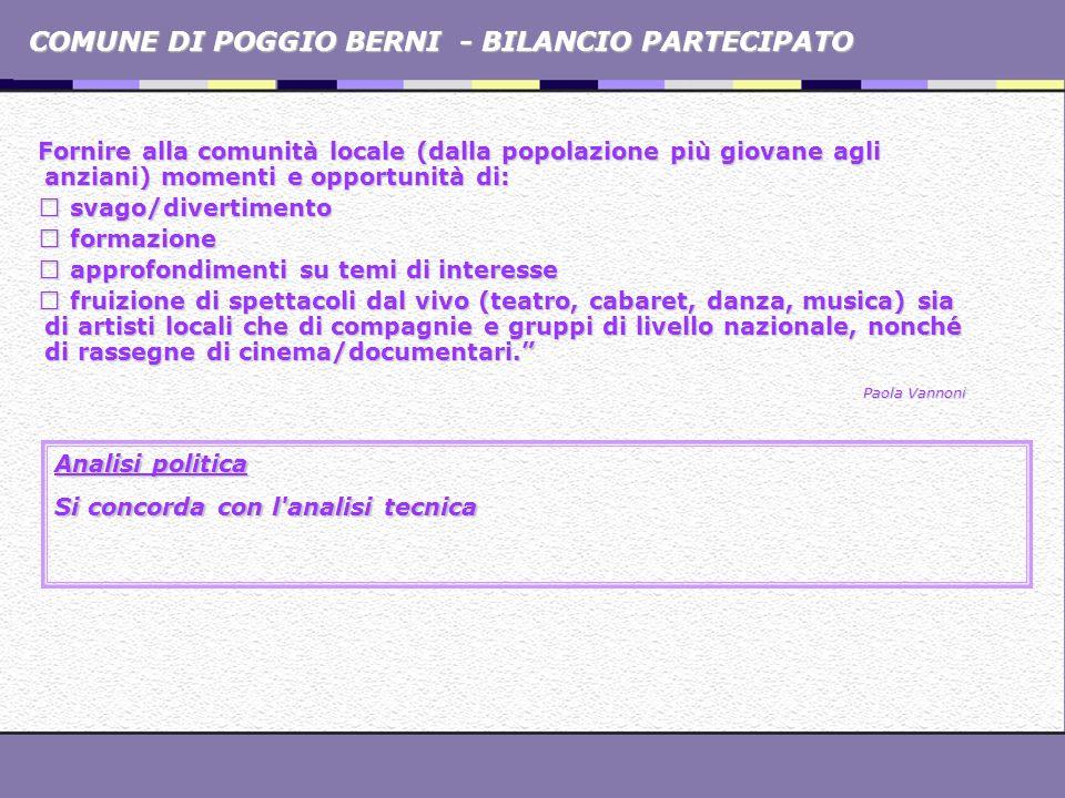 COMUNE DI POGGIO BERNI - BILANCIO PARTECIPATO Fornire alla comunità locale (dalla popolazione più giovane agli anziani) momenti e opportunità di: svag