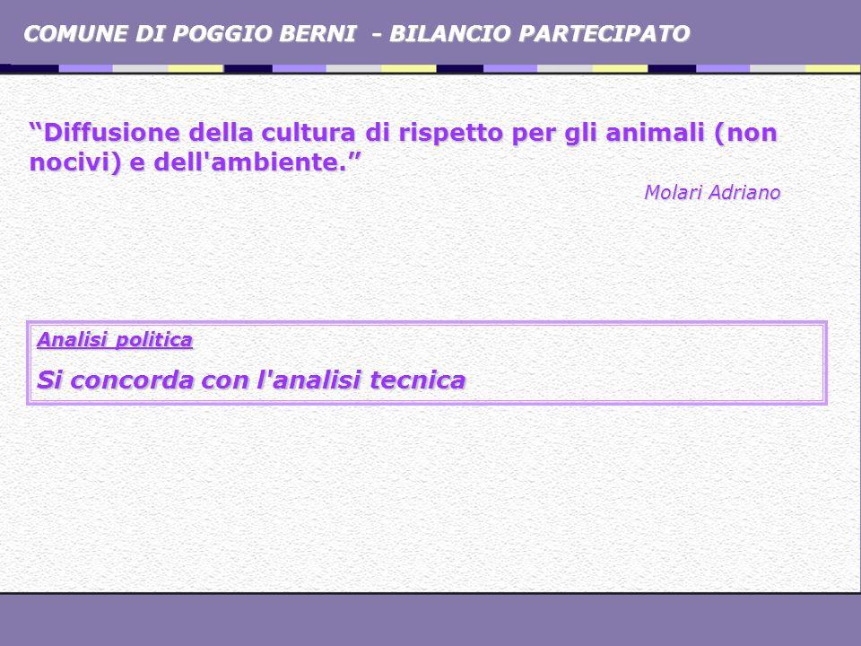 COMUNE DI POGGIO BERNI - BILANCIO PARTECIPATO Diffusione della cultura di rispetto per gli animali (non nocivi) e dell'ambiente. Molari Adriano Analis